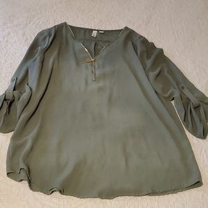 Olive Green Blouse with gold zipper